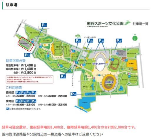 熊谷ラグビー場 駐車場案内図